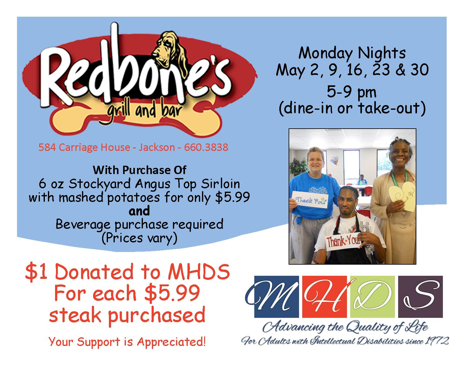 2016-4-25 - May - Redbones - MHDS Monday Steak Night Promotion